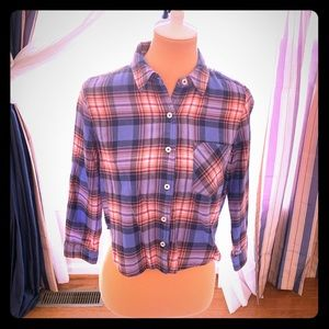 Forever 21 plaid button down crop top
